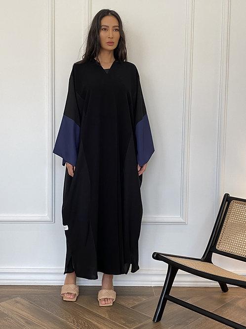 Box Cut Navy Sleeves Abaya