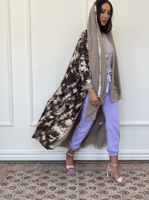 Brown dye, reversible cotton and shefon Abaya