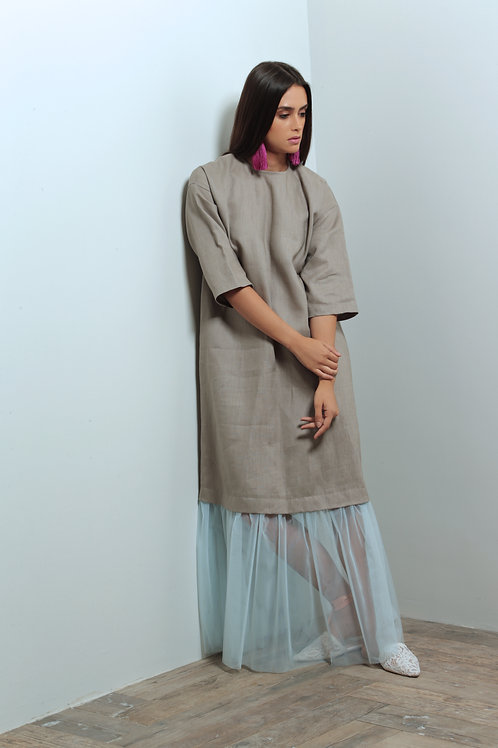 linen dress with toll attached skirt
