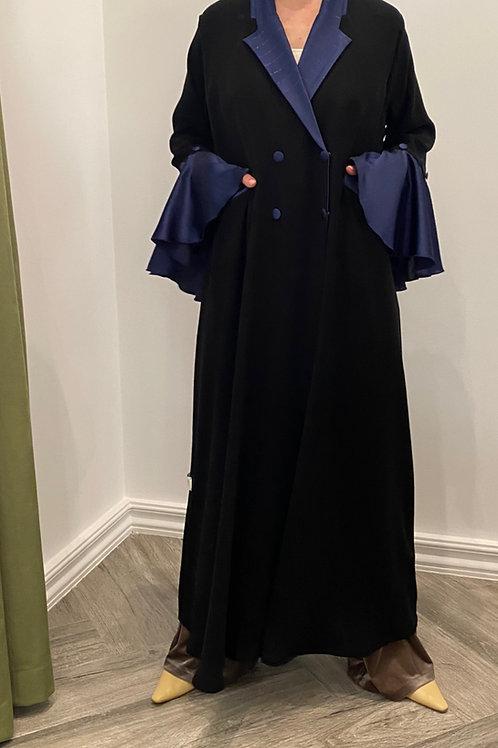 bluelined tinsel ruffles sleeve abaya