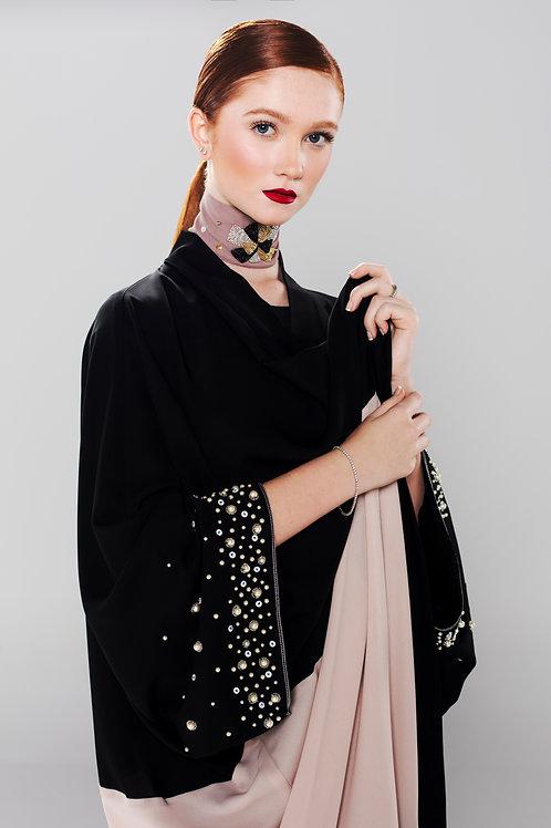 hand beaded silk blend color block abaya