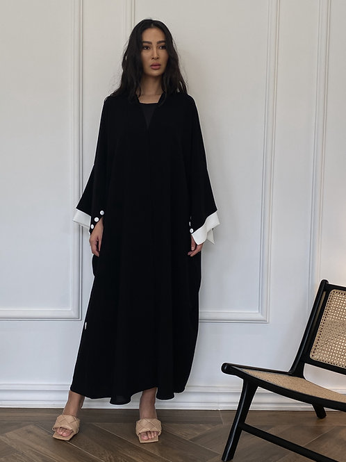 The black and white double layer sleeve Abaya