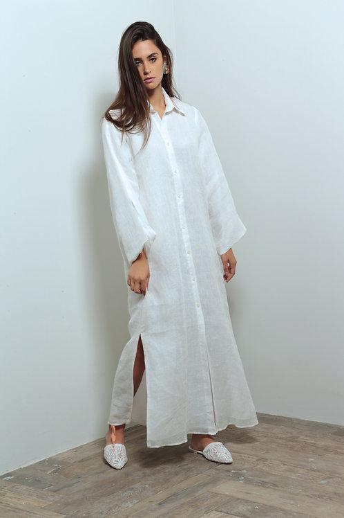 Linen botton down shirt dress