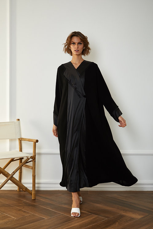 black silk accent jacket fold Abaya