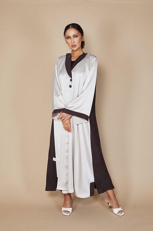 Jacket Abaya tinsel and brown details