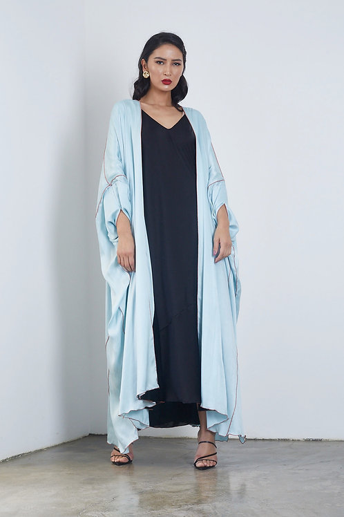 the silk double face abaya in light blue