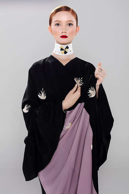 Cotton Blend Abaya with color blocked silk