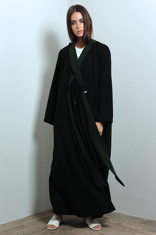 Green cross front belts Abaya
