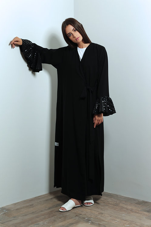 Leather ruffle sleeves abaya