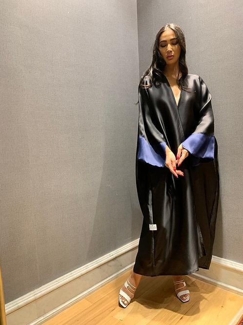 organza abaya with blue organza sleeve