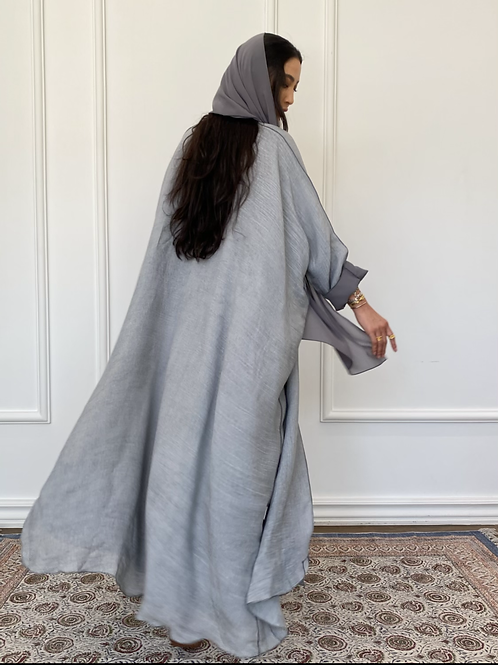 Maria , Reversible Abaya in light grey