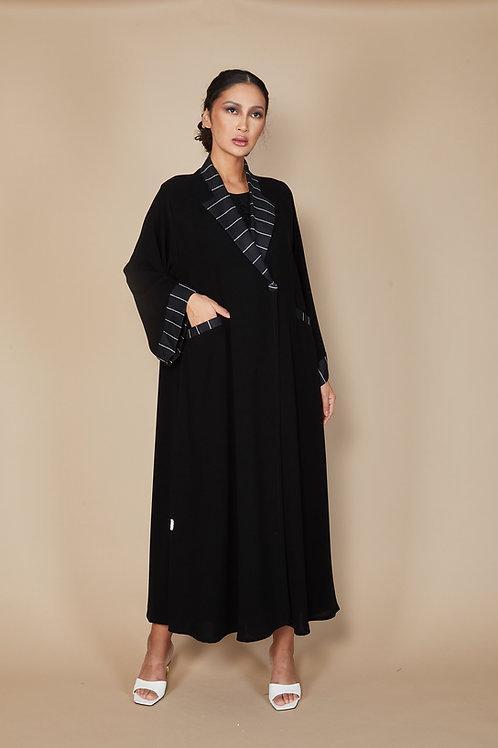 Linen stripped jacket Abaya