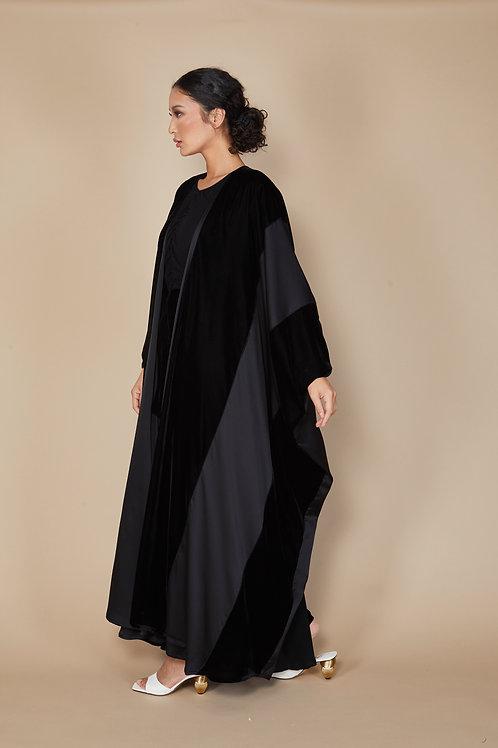 Velvet and silk reversable Abaya