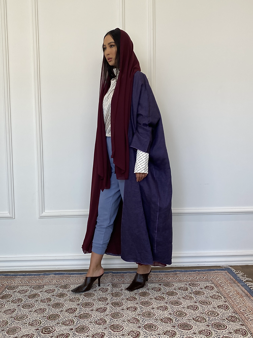 Noof, reversible linen and shefon Abaya