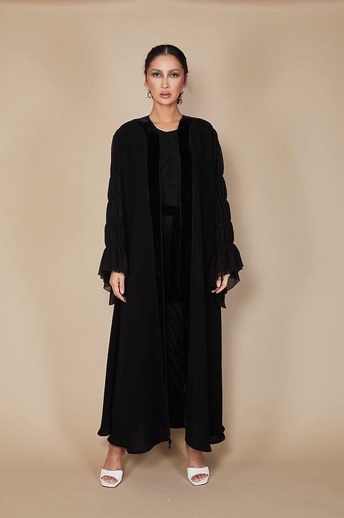 Shefon sleeve abaya with velvet trim