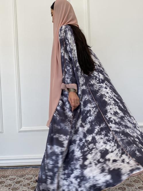 The silk Dye, reversible abaya
