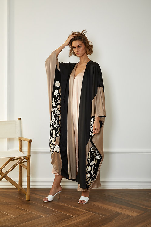 Double face embroidered silk Abaya