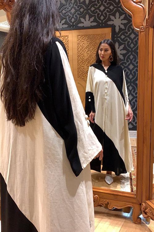 The beige linen slant abaya (Hazm)