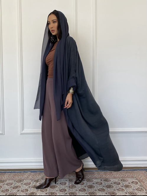 Maria, Reversible linen Abaya in Navy
