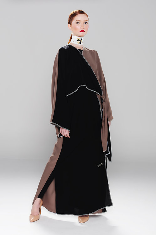Cross bow abaya with brown silk blend
