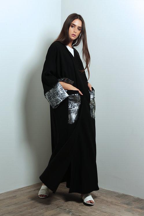 Silver sleeves Abaya with embellished pockets
