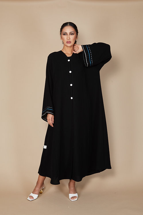 A-line buttoned down Abaya with lined embroidery