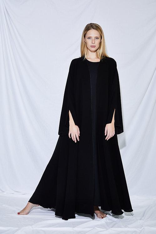 The black overlock trim A-line abaya