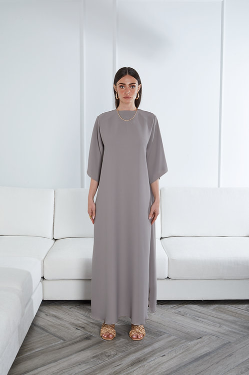 Straight cut dress with shoulder pads