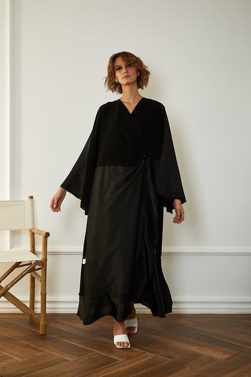 The Black silk skirt with button
