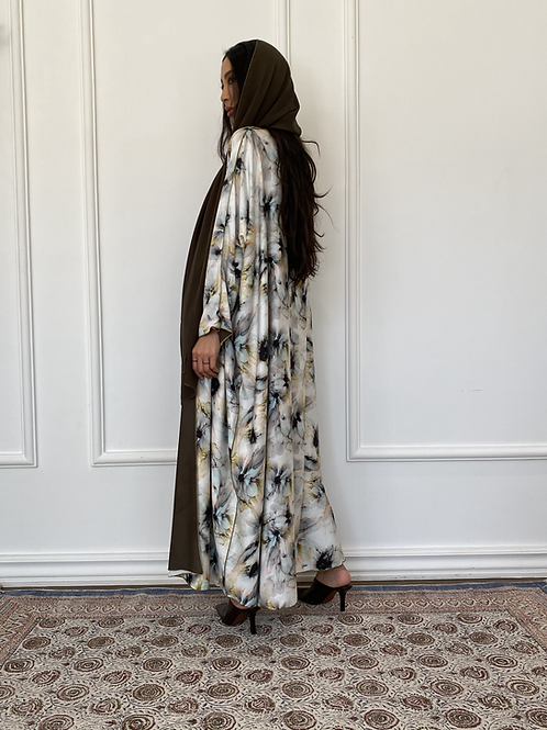 Petal, reversible floral print Abaya in cotton and shefon
