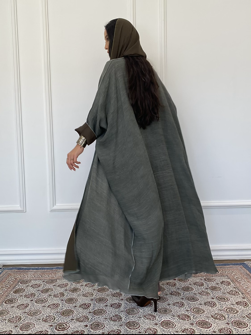 Maria, Reversible linen Abaya in army green