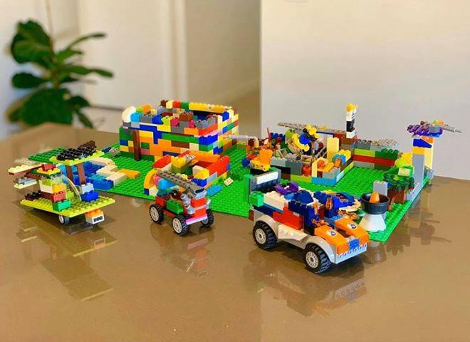 """Group build by 5 school aged children, """" A Fortress with numerous 'army cars' """""""