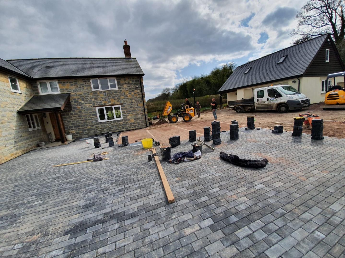 Large block paved driveway