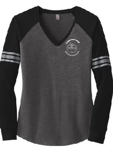 HTEA District Made Ladies Game Long Sleeve V-Neck Tee (Plus Sizes)