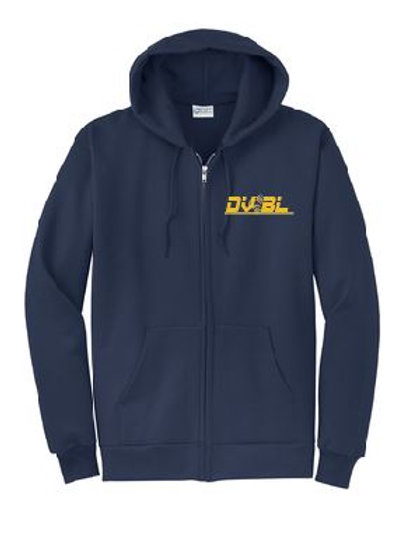Full zip core blend hooded sweatshirt (plus sizes):DVBL