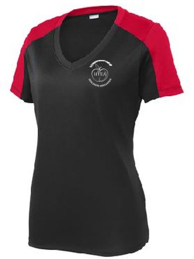 HTEA Sport-Tek Ladies Competitor Sleeve-Blocked V-Neck (Plus Sizes)