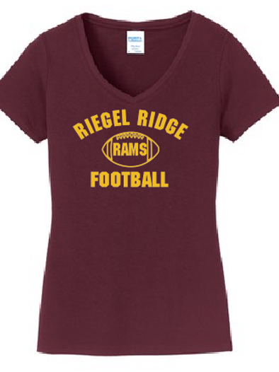 Ladies V-Neck Core Cotton T-shirt: Football Design Adult