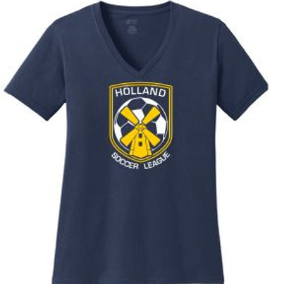 HSL Ladies V-neck Core Cotton T-shirt (Plus Sizes)