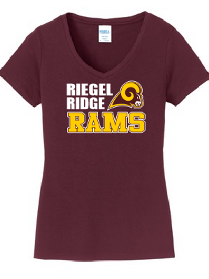 copy of Ladies V-neck Core Cotton T-shirt: Ram Design