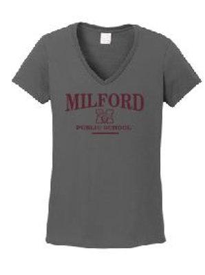 Ladies V-neck Core Cotton T-shirt (Plus Sizes): Milford Design