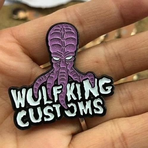 Glow in the Dark Wolf King Squid Head Pin