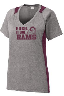 Sport-Tek® Ladies Heather Colorblock Contender™ V-Neck Tee: Ram Design
