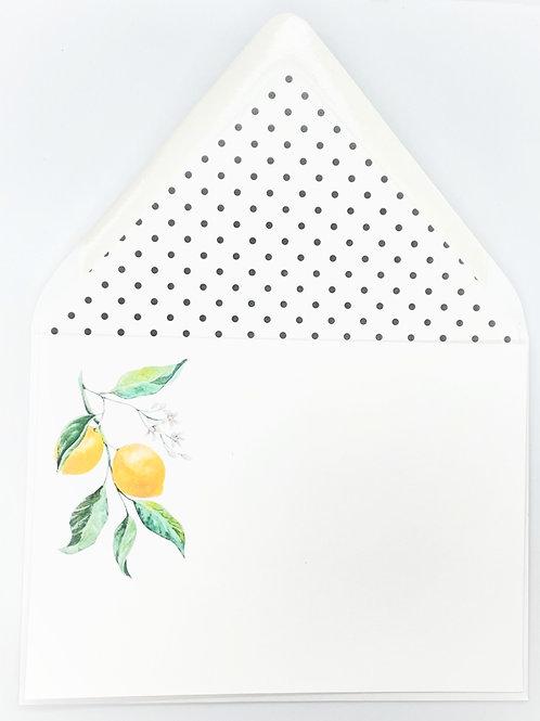 corner lemon branch + dot liner (set of 2 large notecards)