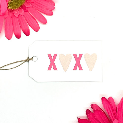 x's + hearts (set of 12 tags)