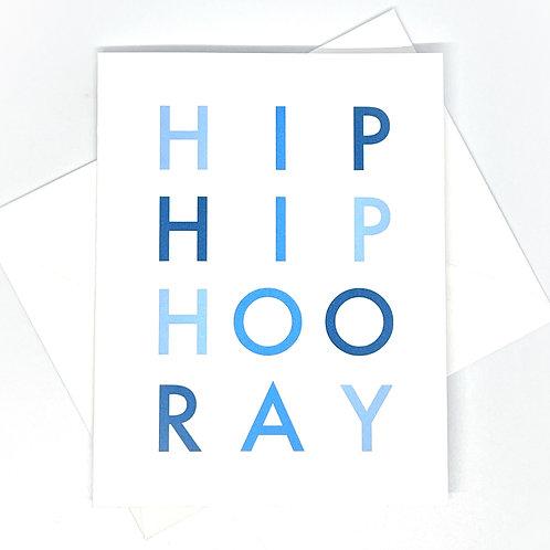 hip hip hooray blue folded (set of 2)