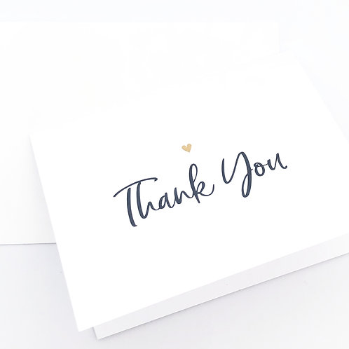 thank you with heart folded (set of 10)