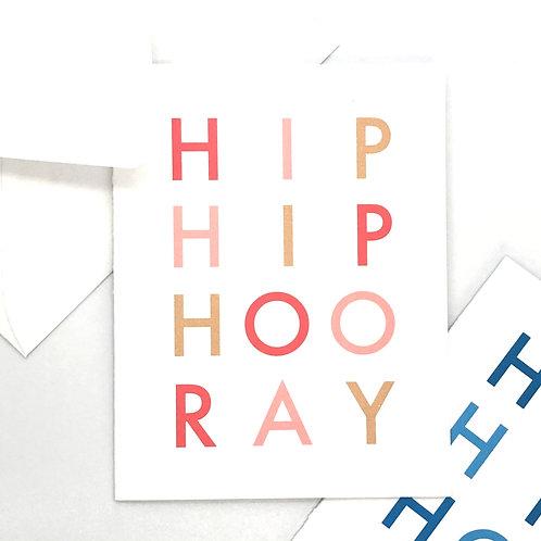 hip hip hooray pink or blue folded (set of 5)