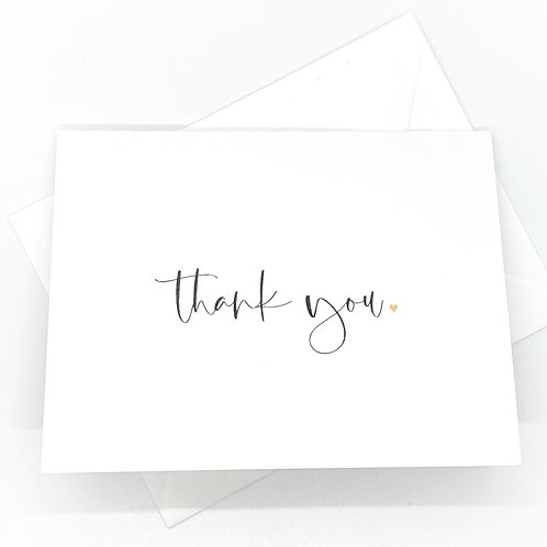 thank you gold heart folded (set of 2)