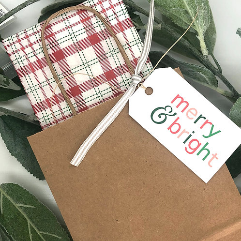 kraft gift bag with tissue + tag