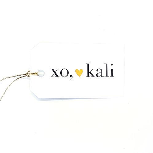 xo + gold heart